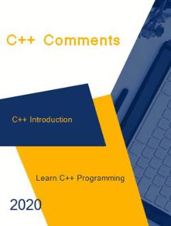 Free Download PDF Books, C++ Comments _ C++ Introduction