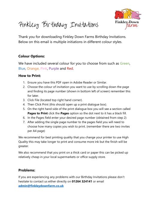 Free Download PDF Books, Finkley Down Farm Birthday Party Invitation Template Word   PDF