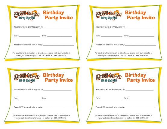 Free Download PDF Books, Gatti Town Birthday Party Invitation Template Word | PDF