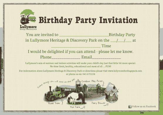Free Download PDF Books, Heritage Park Birthday Party Invitation Template Word | PDF