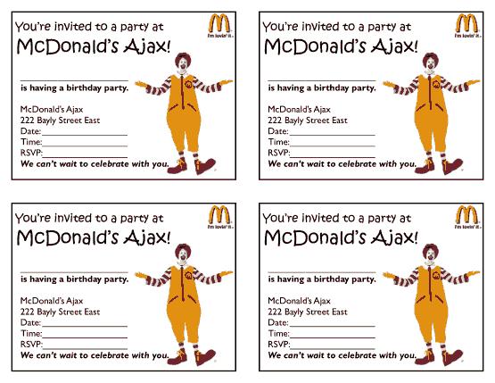 Free Download PDF Books, MacDonalds Birthday Party Invitation Template Word | PDF
