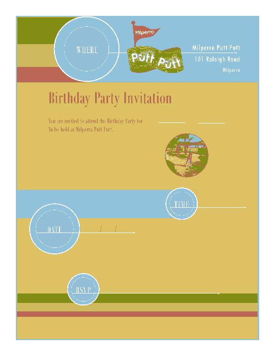 Free Download PDF Books, Milperra Park Birthday Party Invitation Template Word | PDF