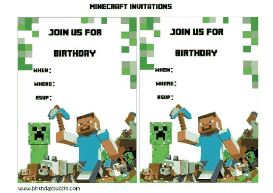 Free Download PDF Books, Minicraft Birthday Party Invitation Template Word | PDF