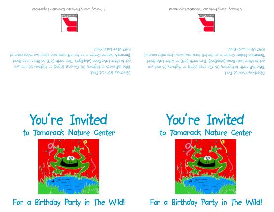 Free Download PDF Books, Tamarack Nature Center Birthday Party Invitation Template Word | PDF