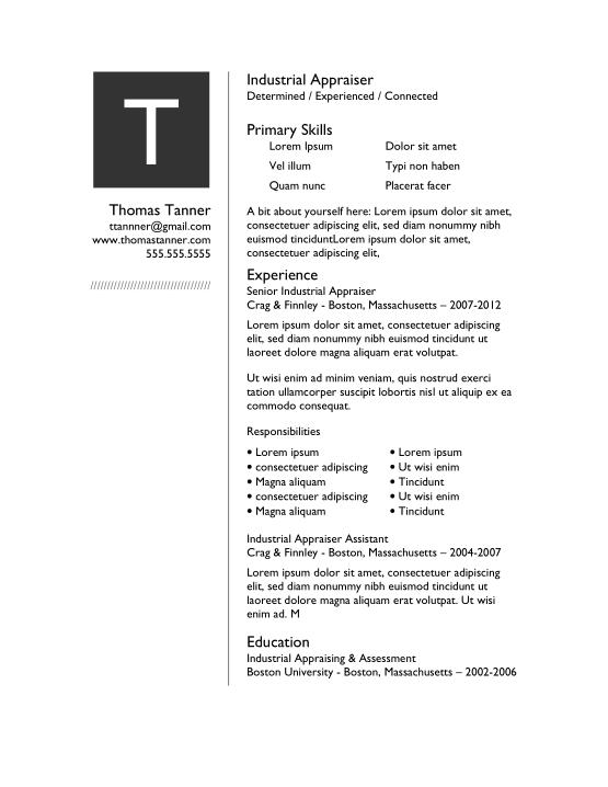 Free Download PDF Books, Basic Industrial Appraiser Resume Template Word | PDF