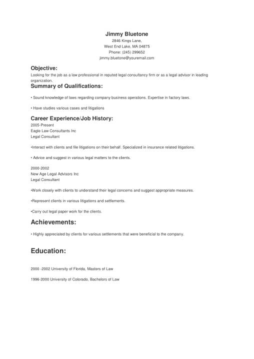 Free Download PDF Books, Basic Legal Resume Template Word | PDF