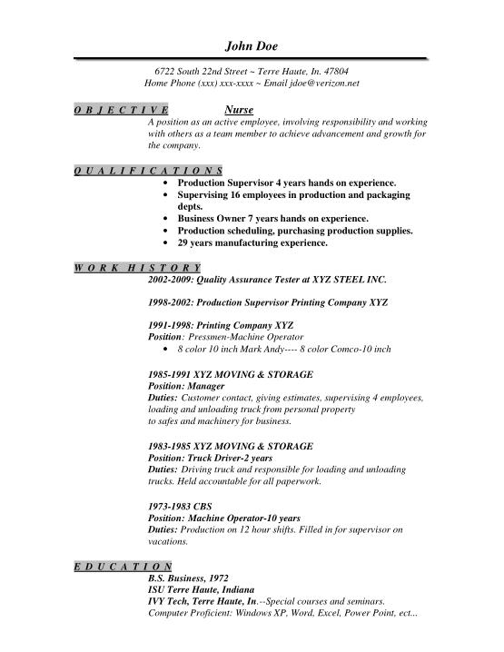 Basic Nurse Resume Template Word   PDF