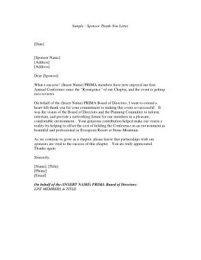 Free Download PDF Books, Sponsorship Thank You Letter Sample Template PDF | Wo