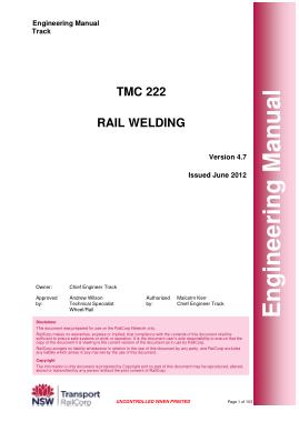 Free Download PDF Books, TMC 222 Rail Welding