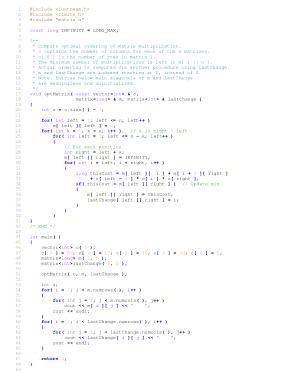 Free Download PDF Books, Dynamic Algorithm For Optimal Chain Matrix Multiplication – C++ Algorithm Code