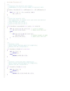 Efficient Implementation Of Disjoint Sets Algorithm – C++ Algorithm Analysis Code