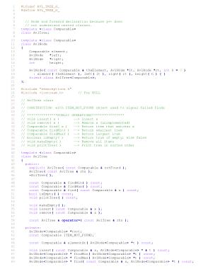 Free Download PDF Books, Header file for AVL tree – C++ Algorithm Analysis Code