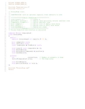 Free Download PDF Books, Header file for binary heap – C++ Algorithm Analysis Code