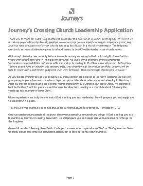 Church Leadership Application Form Template