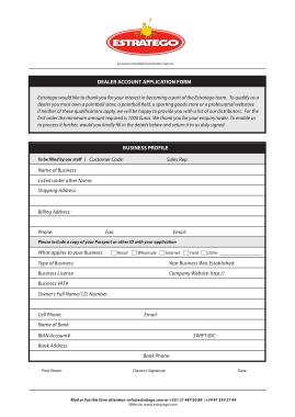 Dealer Account Application Form Template