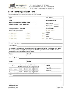 Free Download PDF Books, Room Rental Application Form Templates