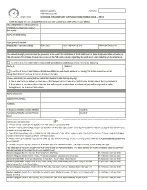 School Transport Application Form Templates