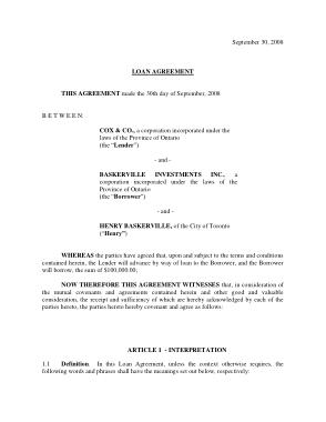 Partnership Loan Agreement Form Template