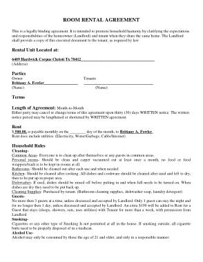 Printable Room Rental Agreement Form Template