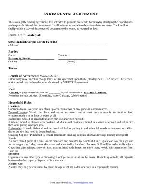 Free Download PDF Books, Room Rental Agreement Template