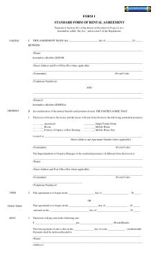 Free Download PDF Books, Standard Rental Agreement Form Template