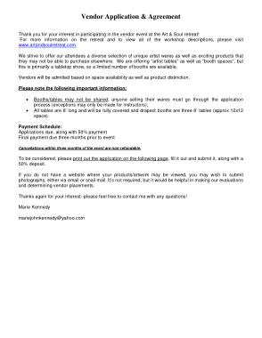 Free Download PDF Books, Vendor Application Agreement Form Template