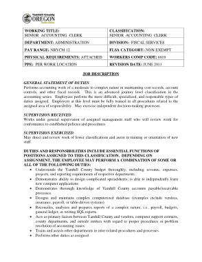 Free Download PDF Books, Senior Account Clerk Job Description Template