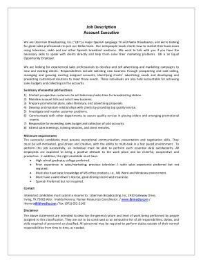 Free Download PDF Books, Account Executive Job Description Template