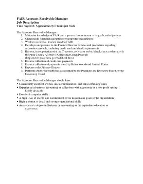 Free Download PDF Books, FAIR Accounts Receivable Manager Job Description Template