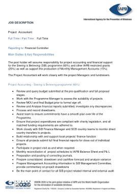 Free Download PDF Books, Project Accountant Job Description Template