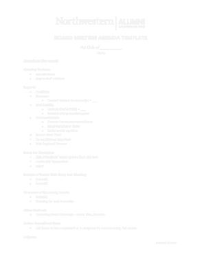 Alumni Association Board Meeting Agenda