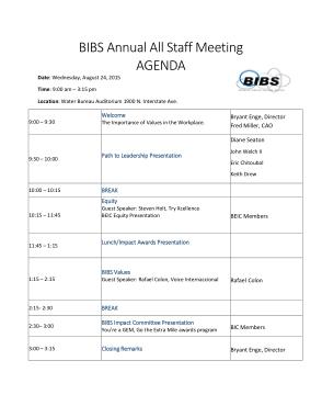 Annual Staff Meeting Agenda
