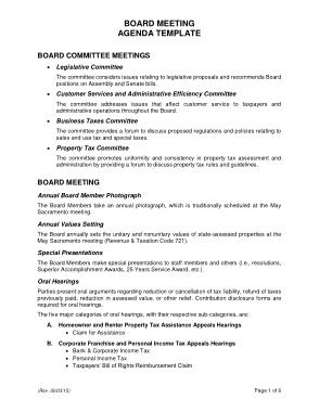 Board Committee Meeting Agenda