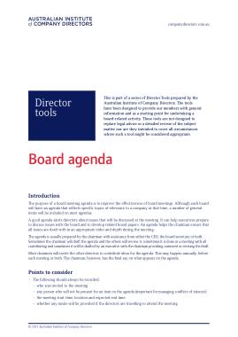 Company Directors Meeting Board Agenda