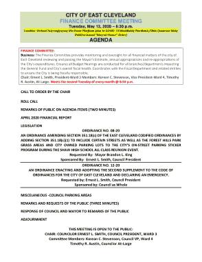Finance Committee Meeting Agenda