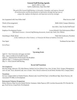 Free Download PDF Books, General Staff Meeting Agenda