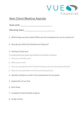New Client Meeting Agenda Sample