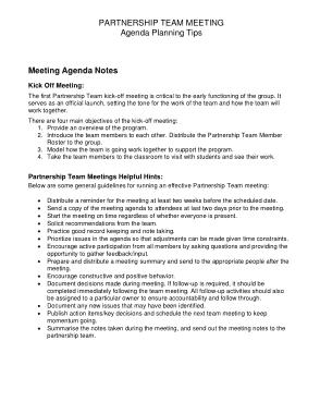 Partnership Team Meeting Agenda