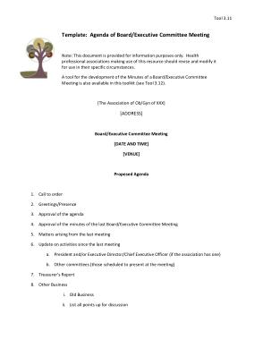 Free Download PDF Books, Sample Executive Committee Meeting Agenda