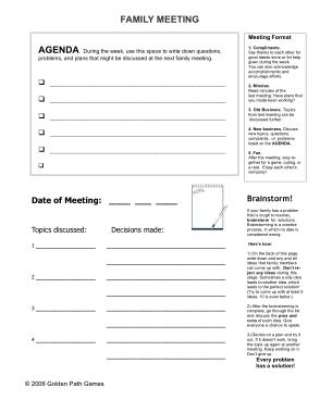 Free Download PDF Books, Sample Family Meeting Agenda