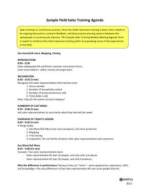 Free Download PDF Books, Sample Field Sales Training Agenda