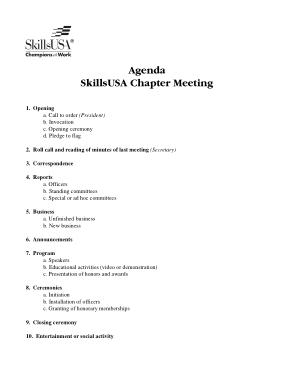 Sample Meeting Agenda Format