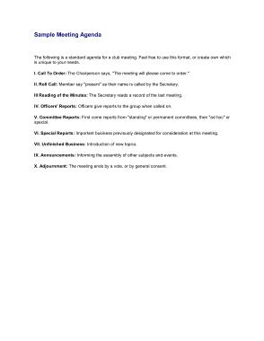 Free Download PDF Books, Sample Meeting Agenda