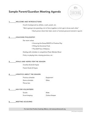 Free Download PDF Books, Sample Parent and Guardian Meeting Agenda