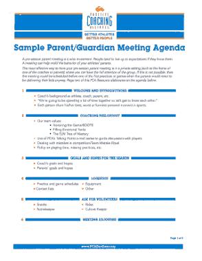 Free Download PDF Books, Sample Parent Guardian Meeting Agenda