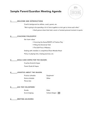 Free Download PDF Books, Sample ParentGuardian Meeting Agenda
