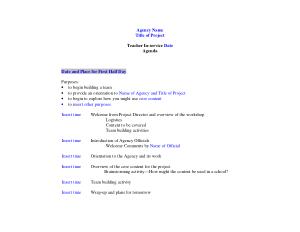Free Download PDF Books, Sample Project Orientation Meeting Agenda