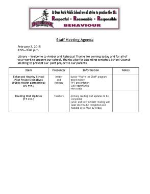 School Staff Meeting Agenda