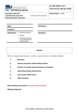 Free Download PDF Books, Simple Staff Meeting Agenda