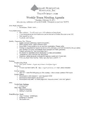 Weekly Sales Team Meating Agenda